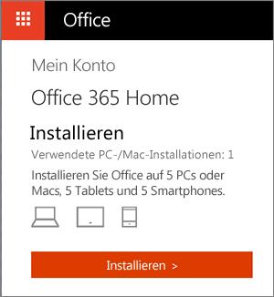"""Seite """"Meine Konten"""" im Office Store mit der Schaltfläche """"Installieren"""""""