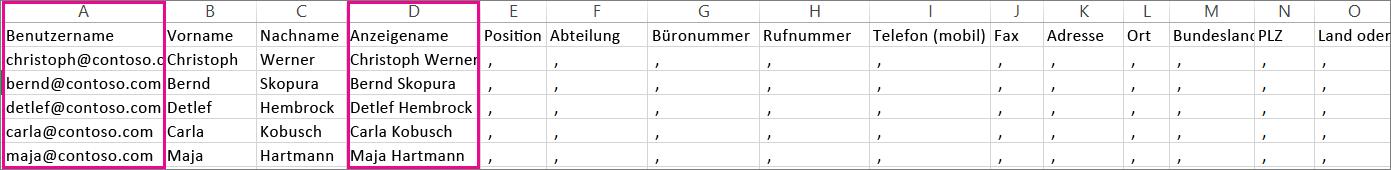 Eine CSV-Beispieldatei mit angegebenen Leerzeilen