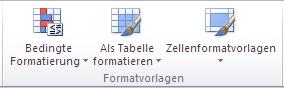 Gruppe 'Formatvorlagen' auf der Registerkarte 'Start'