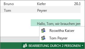 Mehrere Autoren in Excel Web App