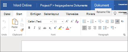 Klicken auf die Titelleiste, um den Namen eines Dokuments in Word Online zu ändern