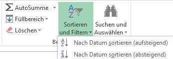 Schaltfläche 'Sortieren und Filtern' auf der Registerkarte 'Start'