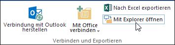 Befehl 'Mit Explorer öffnen' auf der Menüband-Registerkarte 'Bibliothek'