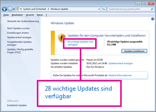 Links im Bereich 'Windows Update'