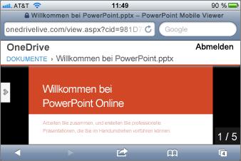 Bildschirmpräsentation in Mobile Viewer für PowerPoint