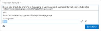 Ein Webseitenlink, der mit Anzeigetext formatiert ist