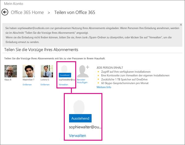 """Screenshot der Seite """"Freigeben von Office 365""""; der Benutzer eines ausstehenden freigegebenen Abonnement ist ausgewählt."""