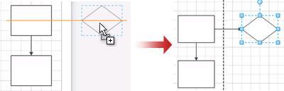 Beim Ablegen eines Shapes wird das Zeichenblatt automatisch erweitert.