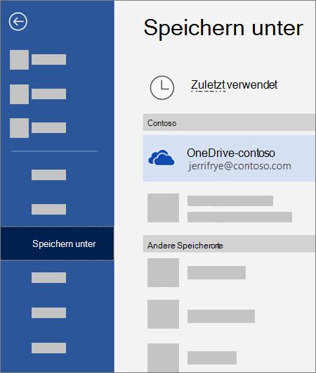 Speichern einer Datei aus Word auf OneDrive for Business