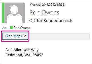 Outlook-Nachricht mit der Bing Maps-App