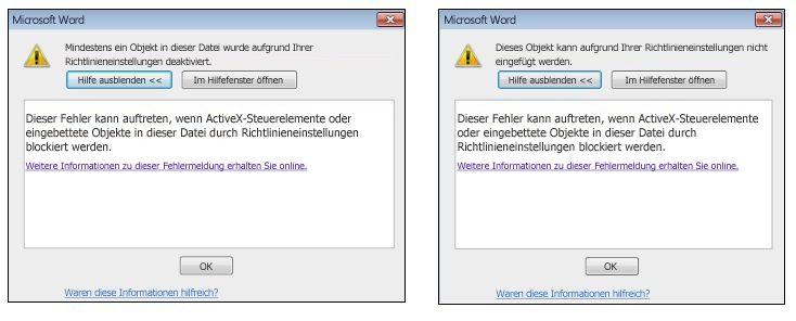 Fehlermeldung für eingebettete Objekte und ActiveX-Steuerelemente