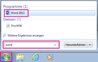 Suchen nach Office-Apps in Windows 7