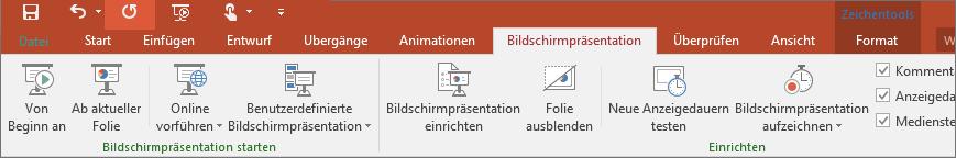 """Zeigt die Registerkarte """"Bildschirmpräsentation"""" im PowerPoint-Menüband"""