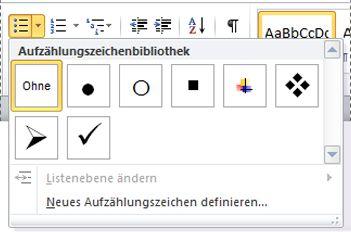 Word 2010-Bibliothek mit Aufzählungszeichen