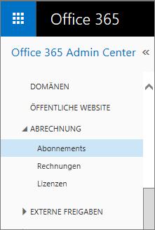 """Link zur Seite """"Abonnements"""" in Office365 SmallBusiness Premium"""