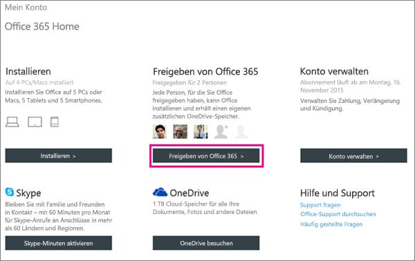 """Screenshot der Seite """"Mein Konto"""" mit ausgewählter Schaltfläche """"Office 365 freigeben""""."""