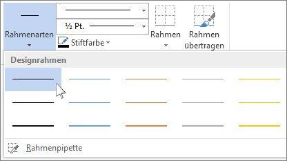 Tabellenrahmenformate