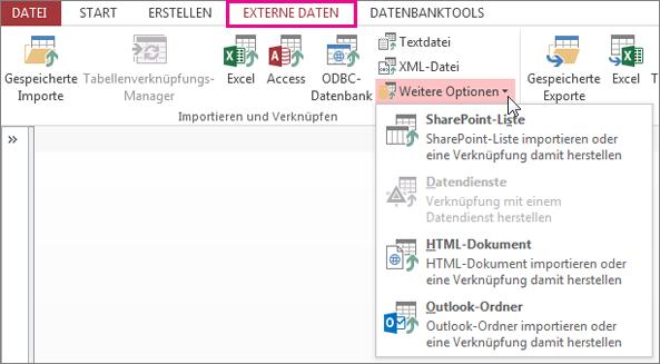 """Optionen auf der Registerkarte """"Externe Daten"""" in Access"""