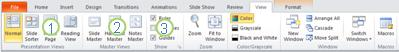 The View tab in the PowerPoint 2010 ribbon.