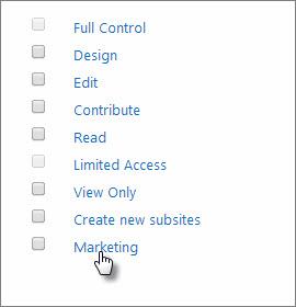 Choose a permission level called Marketing.