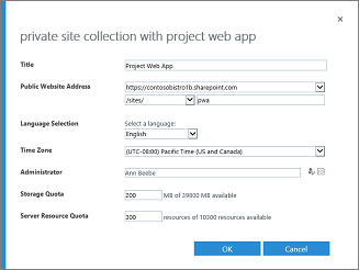 Private Site Collection with Project Web App
