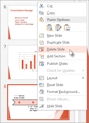 Right-click a slide thumbnail, and the click Delete Slide.