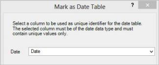 Mark As Date Table dialog