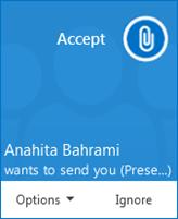 Screenshot of file transfer pop up alert