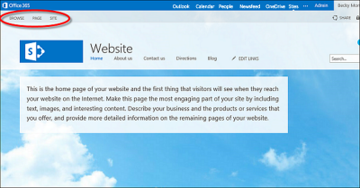 Default page layout for Office 365 public website
