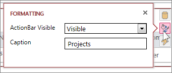 The Formatting dialog of a web datasheet view