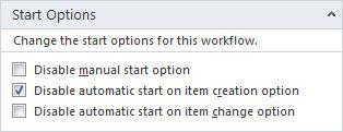 Workflows Start Options