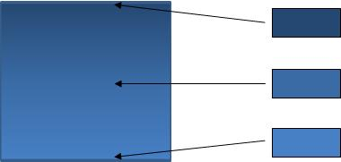 A diagram showing a shape with a gradient fill and the three colors that compose the gradient.