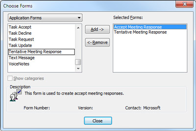 Choose Form dialog box