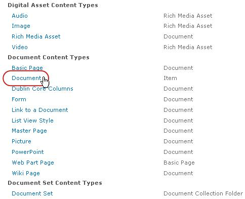 Document Content Types with type highlighted