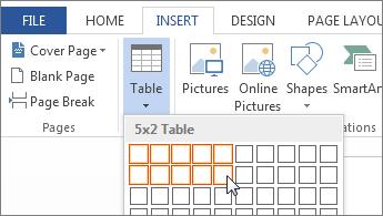 Insert table grid