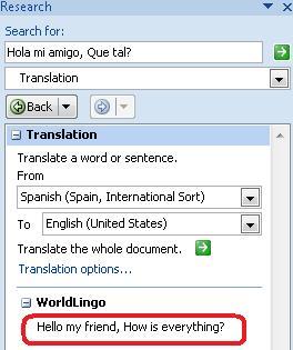 Translation Options dialog box