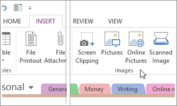 Insert images into OneNote.