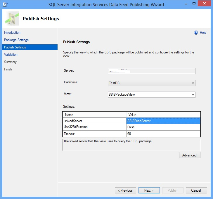 SSIS Package Publish Wizard - Publish Settings