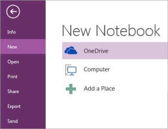 The New Notebook process in OneNote