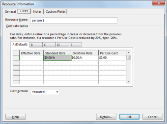 Costs tab in the Resource Information dialog box