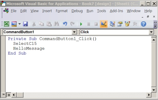 A subprocedure in the Visual Basic Editor