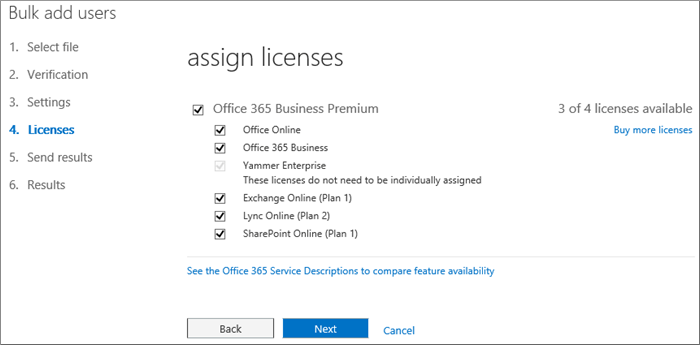 Step 4 of the Bulk Add Users wizard - Licenses