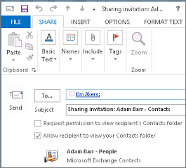 Draft share contacts invitation inside your organization