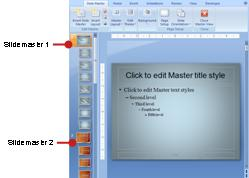 Two slide masters with associated layouts