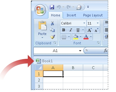 Arrow pointing to title bar of workbook window