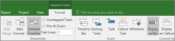 Format tab for the Timeline view