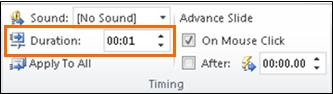 Type the number of seconds you want the transition to last into the Duration text box in the Timing group.