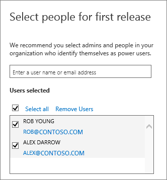 Office 365 release programs add users