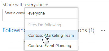 Post to a team site from the newsfeed on your personal site