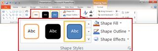 The Shape Styles group on the Format tab